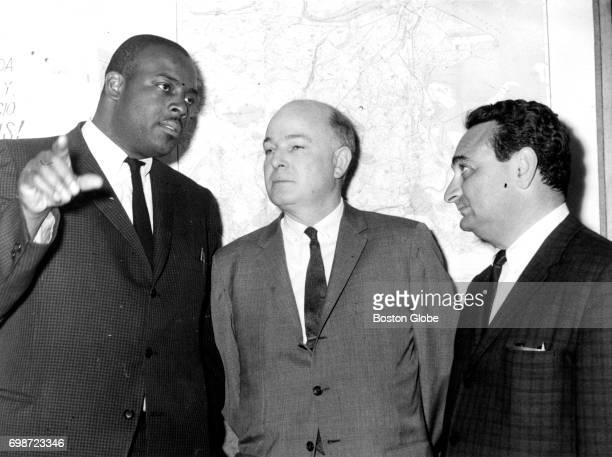 From left South End House youth director Mel King US Manpower Administrator John C Donovan and ABCD Project director Joseph Slavet are pictured at a...