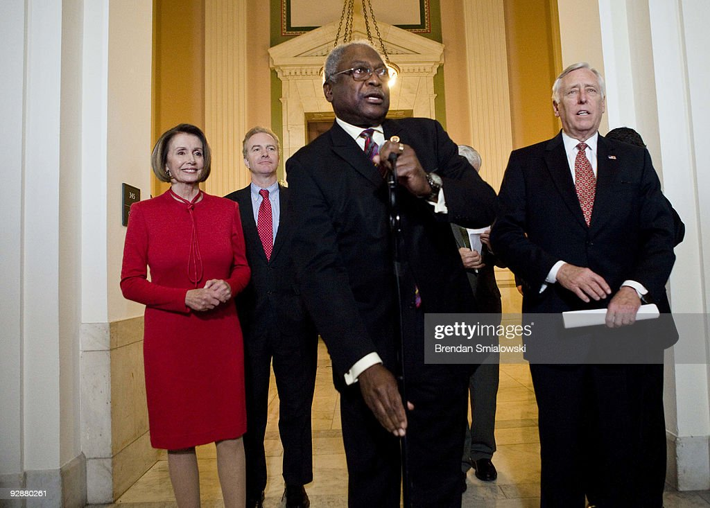 From left, Speaker of the House Nancy Pelosi (D-CA), Rep. Chris Van Hollen (D-MD), House Majority Whip James Clyburn (D-SC) and House Majority Leader Steny Hoyer (D-MD) arrive to make a statement after a caucus meeting with President Barack Obama on Capitol Hill November 7, 2009 in Washington, DC. US President Barack Obama spoke with members of the House Democratic Caucus about healthcare reform legislation which is expected to be voted on today.