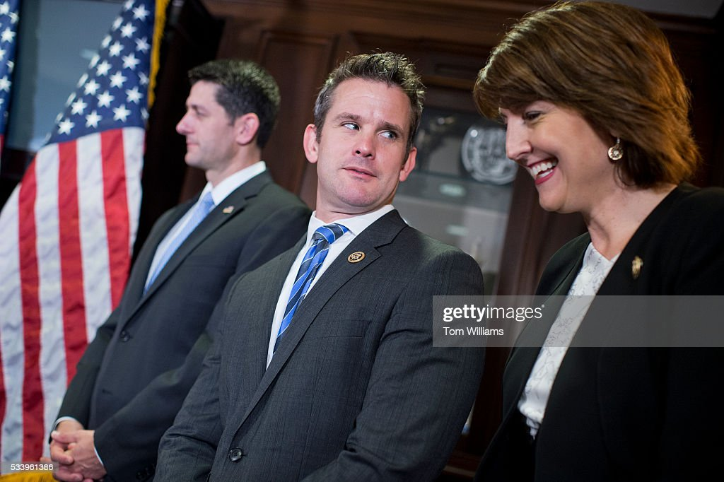 From left, Speaker Paul D. Ryan, R-Wis., Rep. Adam Kinzinger, R-Ill., and Cathy McMorris Rodgers, R-Wash., conduct a news conference at the RNC after a meeting of the House Republican Conference, May 24, 2016. Members addressed recent controversial comments by Department of Veterans Affairs Secretary Bob McDonald.