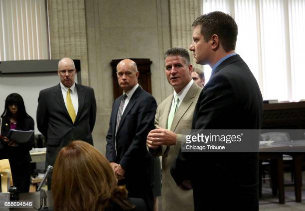 From left Special Prosecutors Joseph Cullen Joseph McMahon and Defense Attorney Daniel Herbert with defendant Jason Van Dyke right at George Leighton...