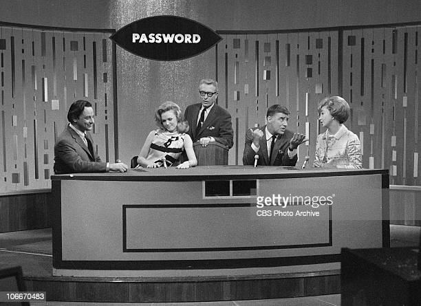 From left Stephen Sondheim Lee Remick Allen Ludden Peter Lawford and Audrey Meadows on the CBS gameshow PASSWORD Image dated December 15 1966