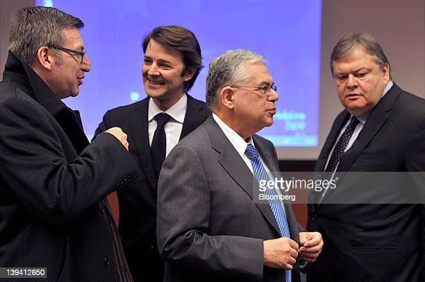 From left Steven Vanackere Belgium's finance minister Francois Baroin France's finance minister Lucas Papademos Greece's prime minister and Evangelos...