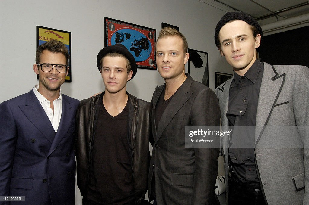 From left, stylist Brad Goreski from 'The Rachel Zoe Project', actor <a gi-track='captionPersonalityLinkClicked' href=/galleries/search?phrase=Xavier+Samuel&family=editorial&specificpeople=5294127 ng-click='$event.stopPropagation()'>Xavier Samuel</a> from the film 'Twilight', designer Simon Spurr and actor <a gi-track='captionPersonalityLinkClicked' href=/galleries/search?phrase=Reeve+Carney&family=editorial&specificpeople=5312264 ng-click='$event.stopPropagation()'>Reeve Carney</a> from 'Spiderman, The Musical'attends the Simon Spurr Spring 2011 fashion show during Mercedes-Benz Fashion Week at Exit Art on September 12, 2010 in New York City.