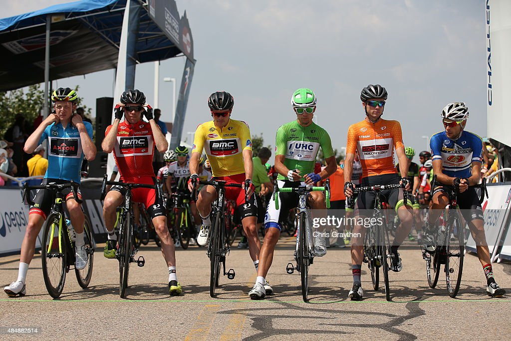 From left, Tao Geoghegan Hart of Great Britain riding for Axeon in the best young rider jersey, <a gi-track='captionPersonalityLinkClicked' href=/galleries/search?phrase=Brent+Bookwalter&family=editorial&specificpeople=6931494 ng-click='$event.stopPropagation()'>Brent Bookwalter</a> of United States riding for BMC Racing in the King of the Mountains jersey, <a gi-track='captionPersonalityLinkClicked' href=/galleries/search?phrase=Rohan+Dennis&family=editorial&specificpeople=4872676 ng-click='$event.stopPropagation()'>Rohan Dennis</a> of Australia riding for BMC Racing in the leader's jersey, Kiel Reijnen of United States riding for UnitedHealthcare in the points jersey, Robbie Squire of United States riding for Hincapie Racing in the most courageous jersey, and Alexandr Braico of Moldolva riding for Jelly Belly-Maxxis in the best Colorado rider jersey pose for a photo before stage six from Loveland to Fort Collins of the 2015 USA Pro Challenge on August 22, 2015 in Loveland, Colorado.