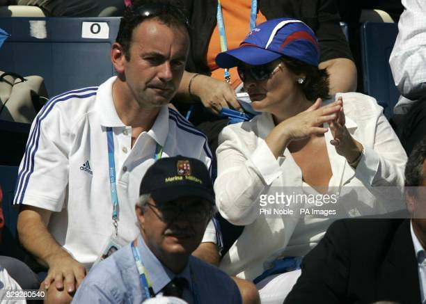 From left TeamGB's Deputy Chef de Mission Stephen Martin sits with Cherie Blair wife of Britain's Prime Minister Tony Blair at the Olympic Aquatic...