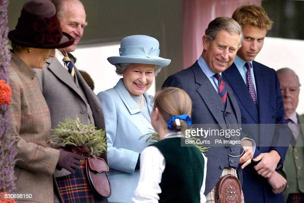 From left The Countess of Wessex the Duke of Edinburgh Queen Elizabeth II The Prince of Wales and Prince William smile as eleven year old Eve...