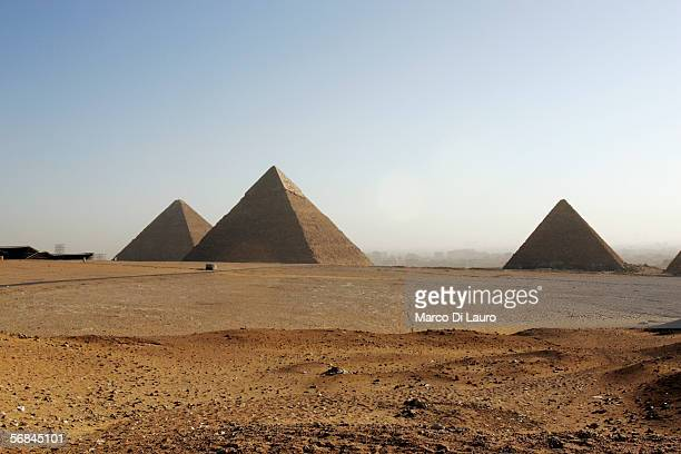 The Great Pyramides of Cheops Chephren and Mycerinus are seen on February 9 2006 in Giza Cairo Egypt The Greeks considered the Great Pyramides to be...