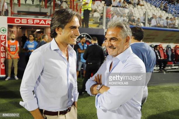 From left the mayor of Reggio Calabria Giuseppe Falcomatà and Gianni Vrenna President of Crotone during the Serie A between AC Milan v FC Crotone...