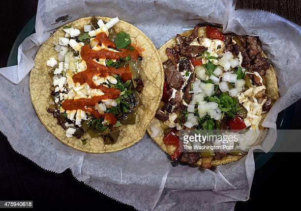 From left the 'Nopal Taco' at 3 Salsas made with grilled cactus and topped with cilantro onions queso fresco and your choice of salsa and the...