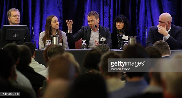 From left Thomas Barnes Chief Scientific Officer of Intellia Therapeutics Inc Rachel Haurwitz President CEO of Caribou Biosciences Rodger Novak Chief...