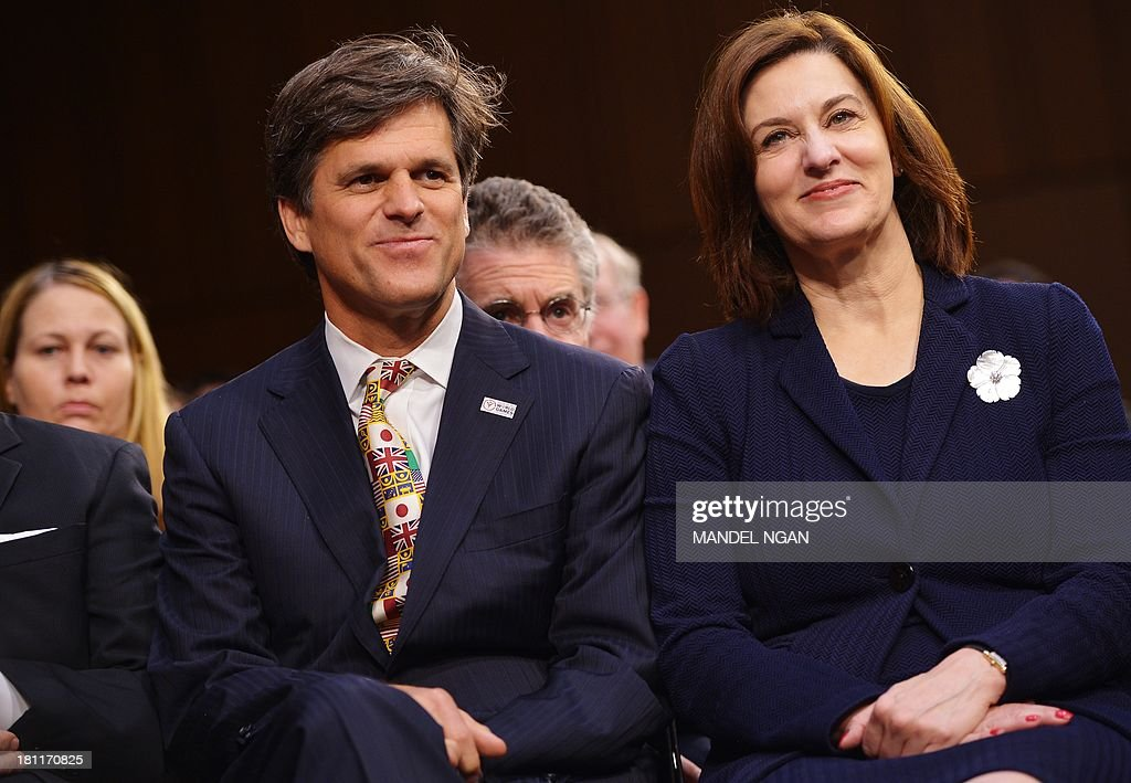 Timothy Shriver and Victoria Kennedy, the wife of the late Edward 'Ted' Kennedy, attend the Senate Foreign Relations Committee nomination hearing for Caroline Kennedy to be ambassador to Japan in the Hart Senate Office Building on Capitol Hill in Washington, DC on September 19, 2013. AFP PHOTO/Mandel NGAN