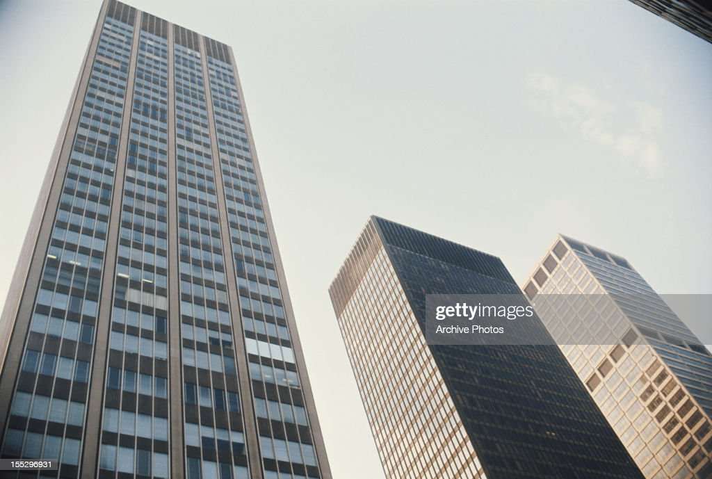 From left to right 399 Park Avenue the Seagram Building and 345 Park Avenue in Midtown Manhattan New York City circa 1970