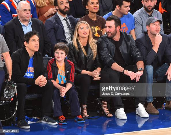 From Left to Right Actor Ben Stiller Model Kate Upton and Professional Baseball Player Justin Verlander watch the New York Knicks against the Atlanta...