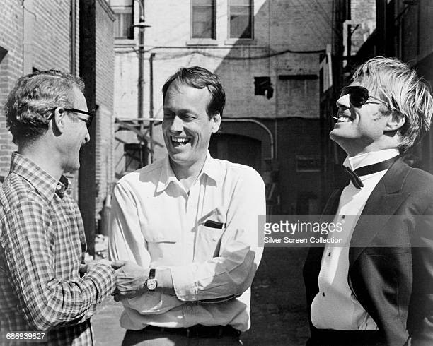 From left to right actor Paul Newman director George Roy Hill and actor Robert Redford on the set of 'The Sting' 1973