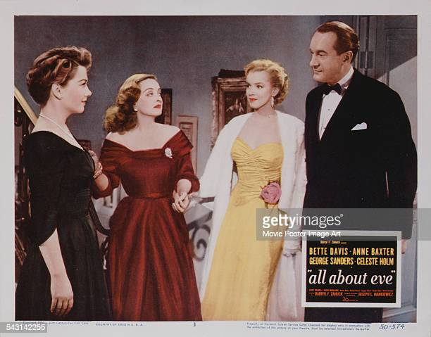 From left to right actors Anne Baxter Bette Davis Marilyn Monroe and George Sanders appear on a poster for the 20th Century Fox film 'All About Eve'...