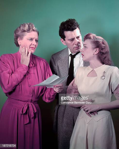 From left to right actors Beth Merrill John Forsythe and Ann Shepherd in the play 'All My Sons' by Arthur Miller New York City 17th October 1947