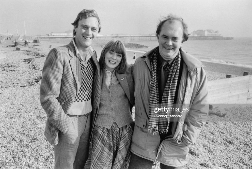 From left to right, actors Christopher Cazenove and Alison Steadman, and English playwright Alan Ayckbourn on the beach at Brighton, 1979.