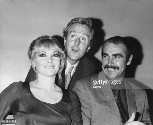 From left to right actors Diane Cilento Robert Hardy and Sean Connery at a press reception at the Mayfair Hotel in London to announce their upcoming...