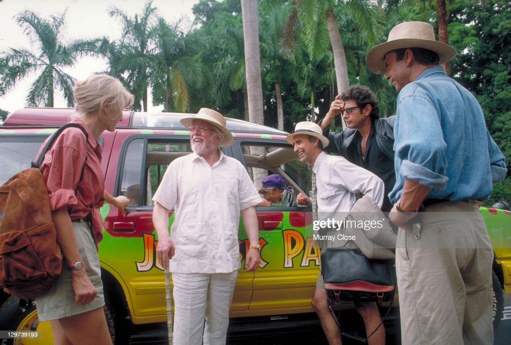 From left to right, actors Laura Dern as Dr. Ellie Sattler, Richard Attenborough as John Hammond, Martin Ferrero as Gennaro, Jeff Goldblum as Dr. Ian Malcolm and Sam Neill as Dr. Alan Grant, in a scene from the film 'Jurassic Park', 1993.