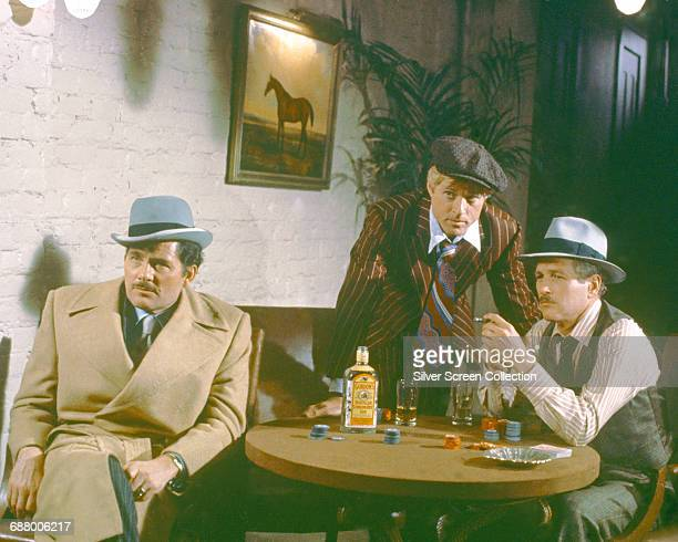 From left to right actors Robert Shaw as Doyle Lonnegan Robert Redford as Johnny Hooker and Paul Newman as Henry Gondorff in the film 'The Sting' 1973