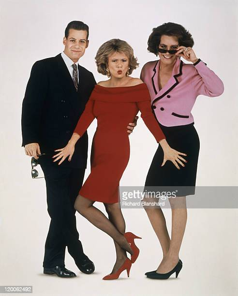 From left to right Adrian Pasdar Julie Walters and Pasdar in drag on the poster for the film 'Just Like a Woman' 1992