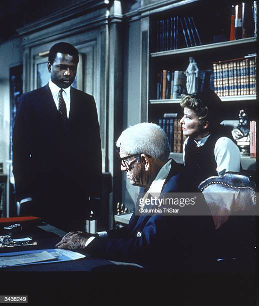 From left to right American actor Sidney Poitier with American actors Spencer Tracy and Katharine Hepburn in a still from director Stanley Kramer's...