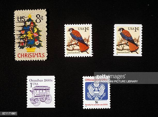 From left to right and from top to bottom Christmas postage stamp depicting a Christmas tree postage stamps from the Fauna series American kestrel...