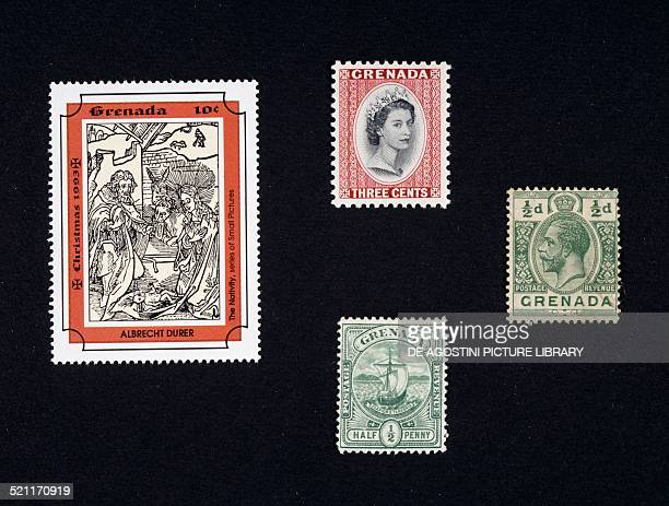 From left to right and from top to bottom Christmas Postage stamp from the series depicting the Nativity by Albrecht Durer postage stamp with a...