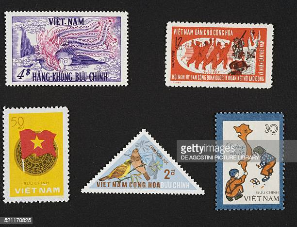 From left to right and from top to bottom postage stamp commemorating the 1st anniversary of the South Vietnamese independence depicting the phoenix...