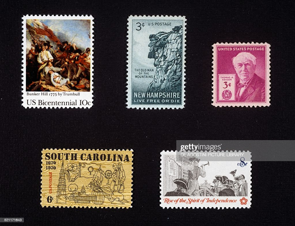 From left to right and from top to bottom postage stamp commemorating the United States Bicentennial painting depicting the Battle of Bunker Hill by...