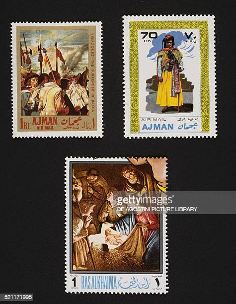 From left to right and from top to bottom postage stamp depicting detail of The Surrender of Breda by Diego Velazquez Ajman postage stamp depicting a...