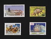 From left to right and from top to bottom postage stamp from the series commemorating the 115th Anniversary of the founding of the Nobel Brother's...
