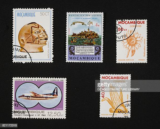 From left to right and from top to bottom postage stamps honouring folk art and sculpture Mapiko mask 4th centenary of the poem The Lusiads by Luis...