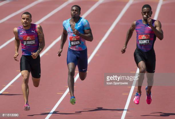 From left to right Andre de Grasse Aareon Brown and Brendan Rodney racing down the home straight in the 200m final at the Canadian Track and Field...