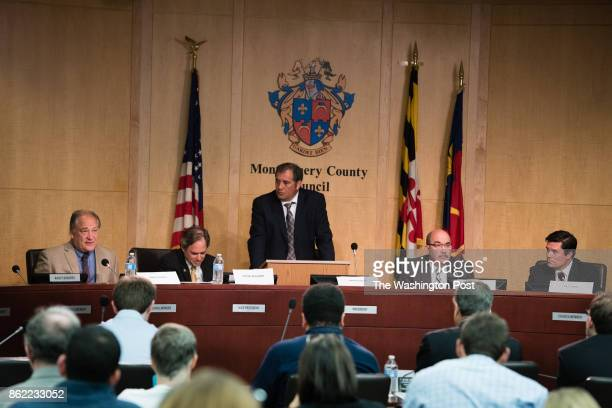 From left to right are Marc Elrich Roger Berliner Brian Karem Executive Editor The Sentinel Newspapers George L Leventhal and Del William Frick sit...