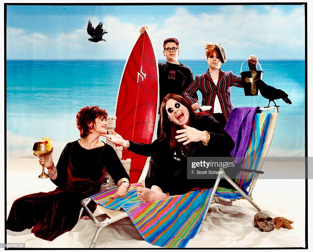 From left to right are Sharon Osbourne, Jack Osbourne, Kelly Osbourne and Ozzy Osbourne.