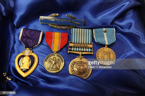 From left to right are the medals awarded to Stensgaard From left to right are The Purple Heart which is the oldest and most prestitgous of military...