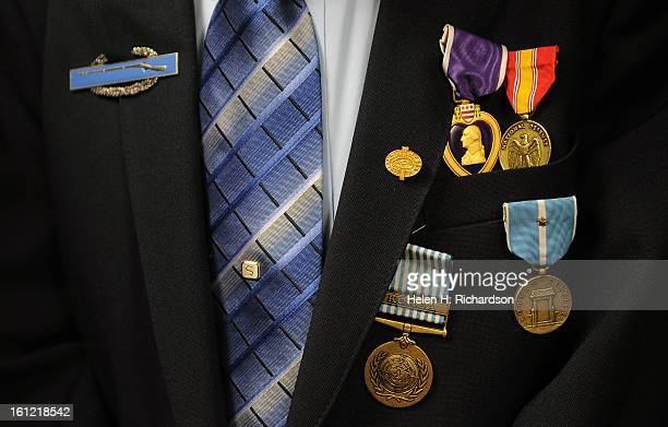 From left to right are the medals awarded to Stensgaard Upper left is a Combat infantry Badge On the right are The Purple Heart which is the oldest...