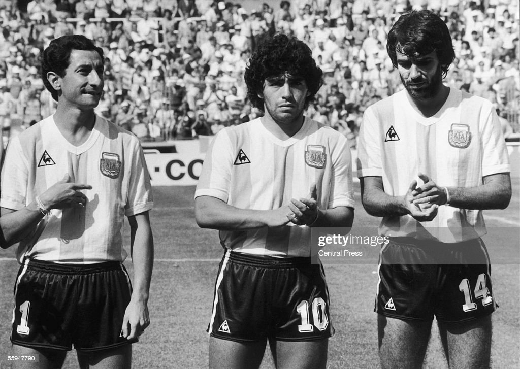 From left to right, Argentinian footballers Osvaldo Ardiles, Diego Maradona and Jorge Olguin shortly before their World Cup match against Brazil, 1st July 1982.
