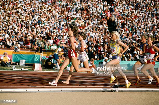 From left to right athletes Mary Decker Zola Budd and Maricica Puica during the Women's 3000 Metres final at the Olympic Games in Los Angeles 10th...