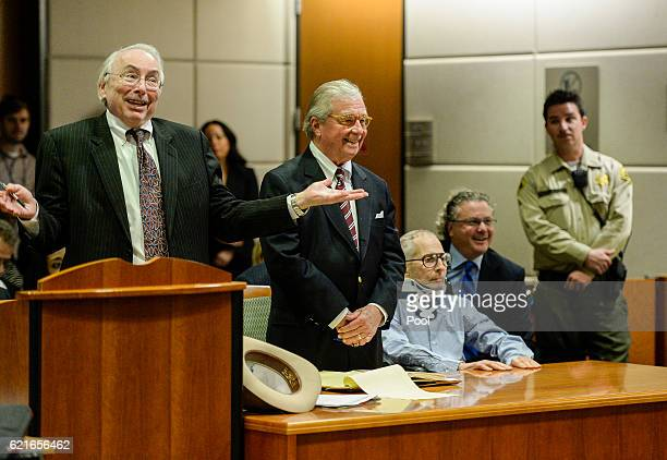 From left to right Attorney Donald M Re lawyer Dick DeGuerin and real estate heir Robert Durst in the Airport Branch of the Los Angeles County...