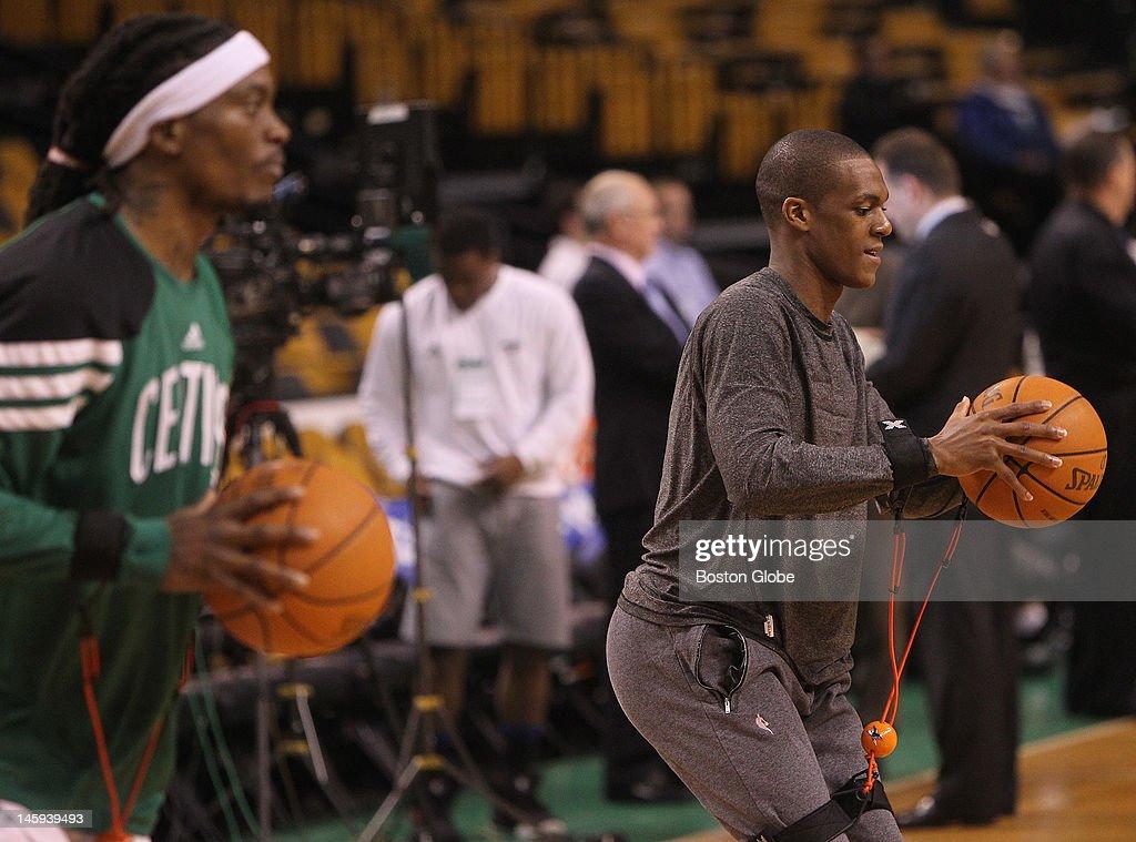 From left to right Boston Celtics shooting guard Marquis Daniels point guard Rajon Rondo during pregame warmups Boston Celtics NBA basketball action...