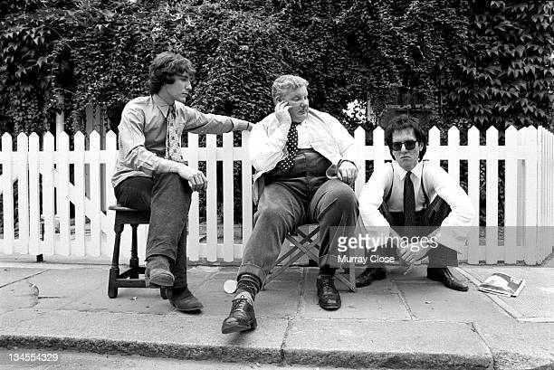 From left to right British actors Paul McGann Richard Griffiths and Richard E Grant in London for a scene in the movie 'Withnail I' 1986