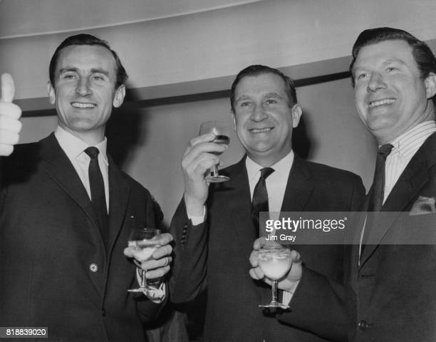 From left to right British cricketers Ted Dexter Jim Laker and Colin InglebyMackenzie are guests of honour at the Variety Club of Great Britain's...