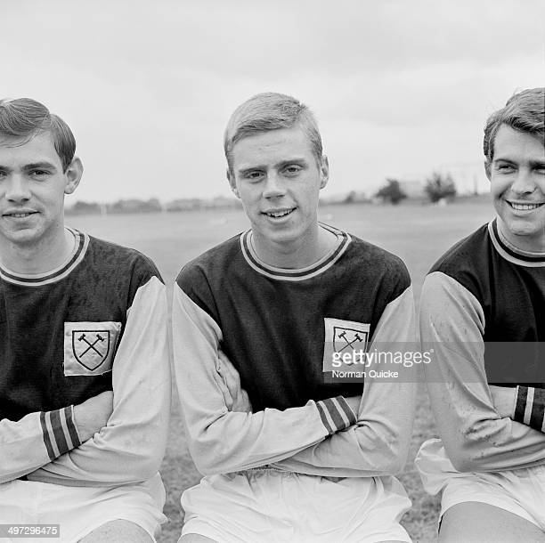 From left to right British footballers Eddie Presland Harry Redknapp and Tony Scott of West Ham United FC UK 18th August 1964