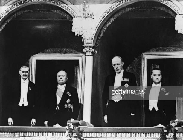 From left to right British Prime Minister Neville Chamberlain Italian leader Benito Mussolini Lord Halifax the British Foreign Secretary and Italian...