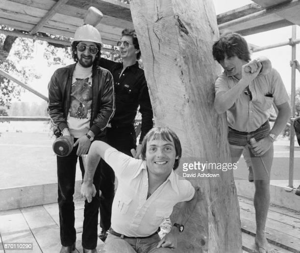 From left to right Capital Radio disc jockeys Nicky Horne Dave Cash Graham Dene and Roger Scott visit the Elms in Hyde Park London 9th June 1978