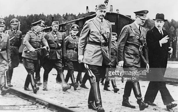 From left to right Carl Gustaf Emil Mannerheim Chief of Defence of the Finnish Defence Forces German Fuhrer Adolf Hitler and Finnish president Risto...