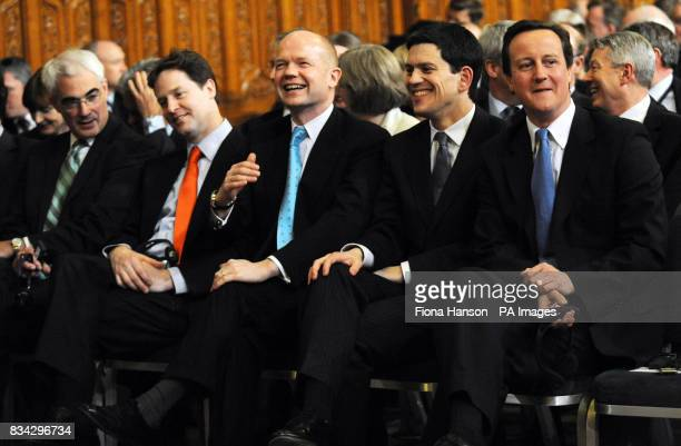 Chancellor Alistair Darling Liberal Democrat leader Nick Clegg Shadow Foreign Secretary William Hague Foreign Secretary David Miliband and Tory...