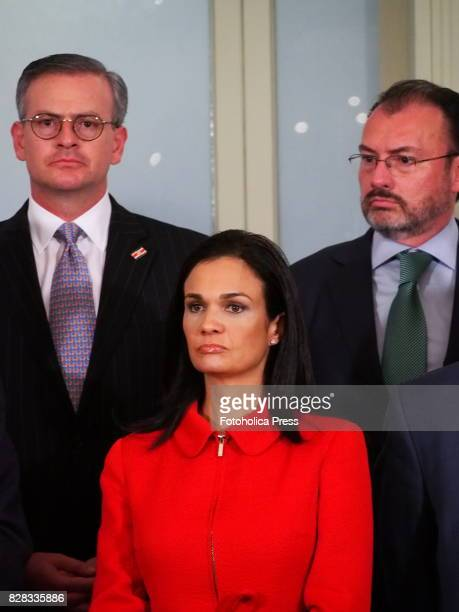 From left to right Chancellors Manuel Gonzalez Sanz from Costa Rica Isabel de Saint Malo de Alvarado from Panama and Luis Videgaray from Mexico in...